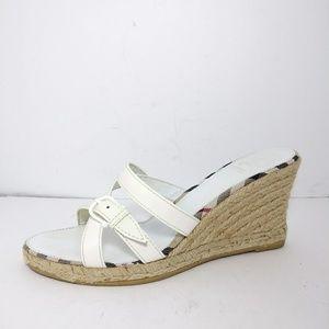 Burberry White Espadrille Wedge Sandals Sz 9/ EU39
